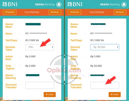 Pilih nominal token yang ingin dibeli