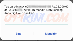Masukan 2 angka acak pin sms banking Mandiri