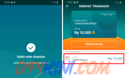 update balance tapcash lewat HP