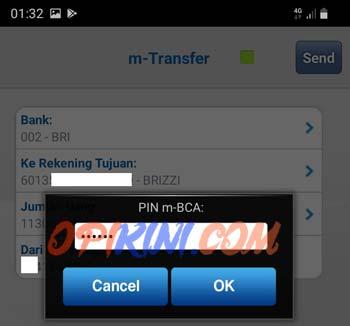 Masukan pin mobile banking BCA