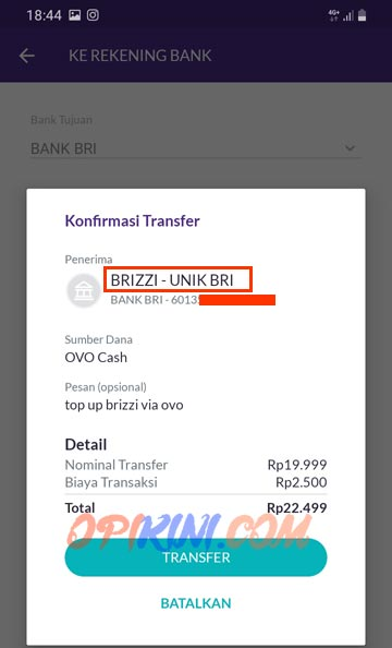 Top Up BRIZZI Via OVO