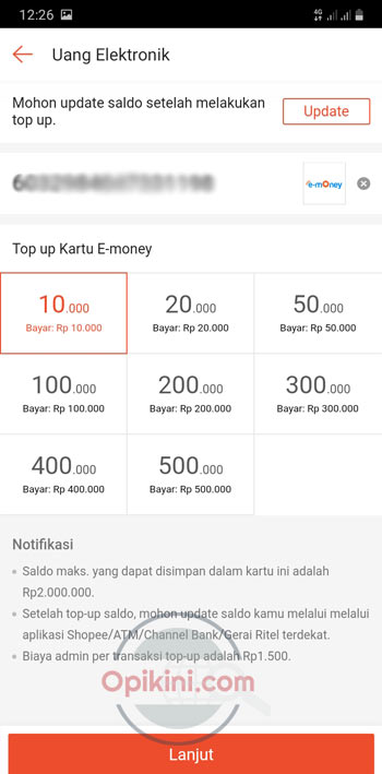 Pilih Nominal Top Up E-Money