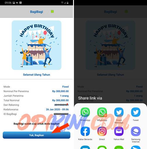 bagikan link BagiBagi uang dari BCA Mobile