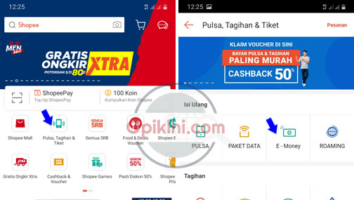 Cara Top Up E-Money Mandiri Di Shopee Lewat HP Android