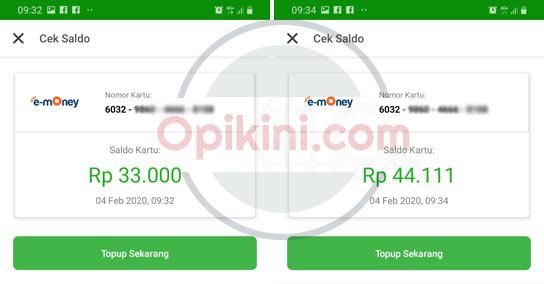 transfer dari BCA ke kartu e-money Mandiri berhasil