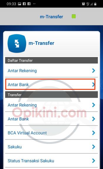 Daftar Transfer pilih Antar Bank