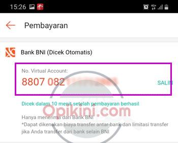 Catat nomor virtual account BNI