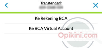 Pilih Ke Rekening BCA