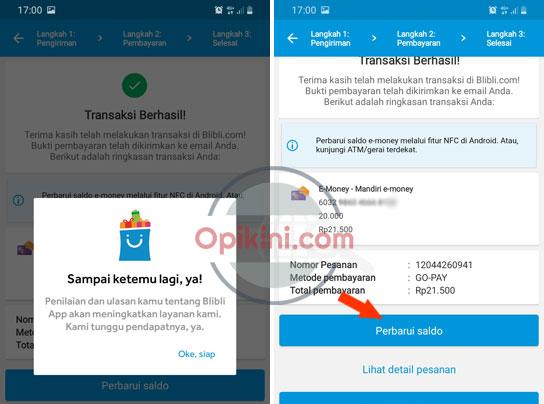 Cara Top Up E-Money Mandiri Di BliBli Dari HP Android Dengan NFC