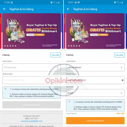Cara Top Up E-Money Mandiri Di BliBli