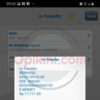 mengisi saldo e-money Mandiri lewat BCA Mobile