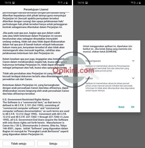 buka aplikasi Canon Inkjet/Selphy