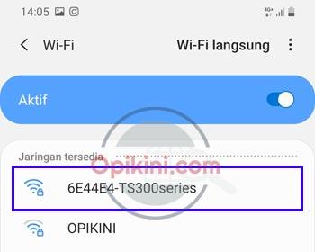 Pilih jaringan wifi printer canon