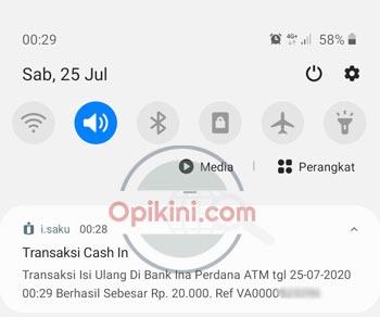 notifikasi cash in