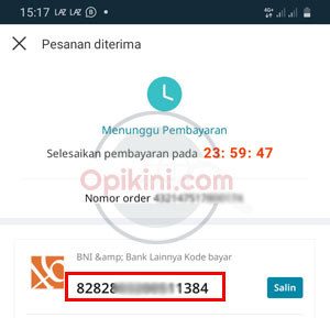 no virtual account BNI