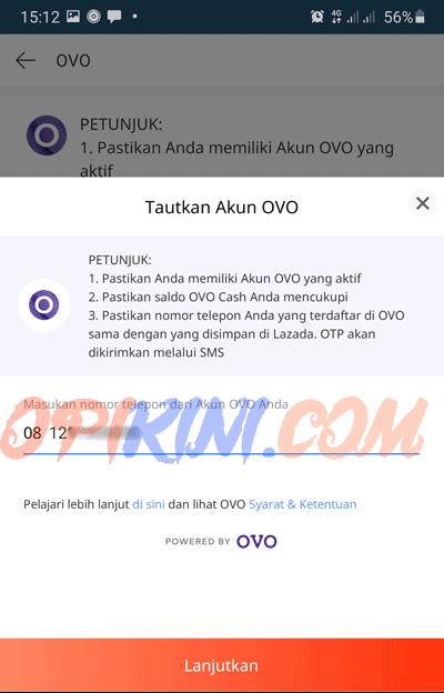 masukan nomor HP akun OVO