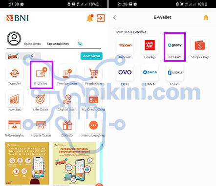 Cara Top Up GoPay Lewat BNI Mobile Banking 2021 (Menu E-Wallet)