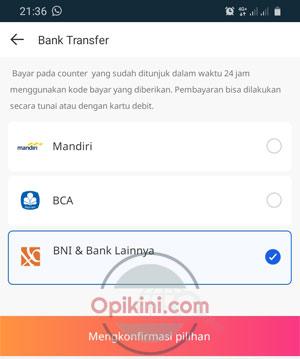 Pilih BNI & Bank Lainnya
