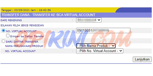 Isi LinkAja Via Internet Banking BCA