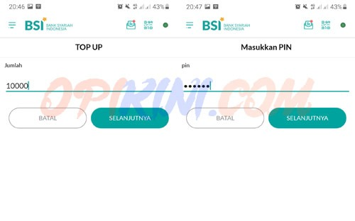 Masukan Nominal Top Up ShopeePay dan PIN BSI Mobile