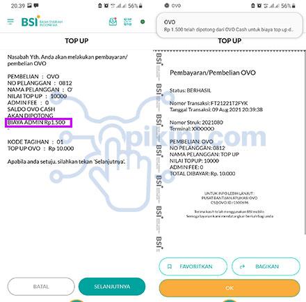 Biaya Admin Top Up OVO Di BSI Mobile