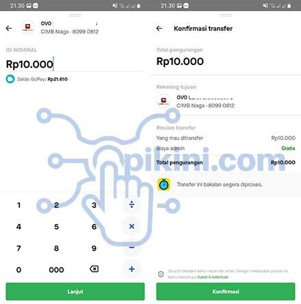 Top Up OVO Pakai GoPay Berhasil